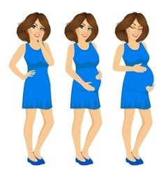 Pregnant woman showing pregnancy growing process vector