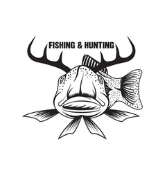 Fishing and hunting funny with horned fish vector