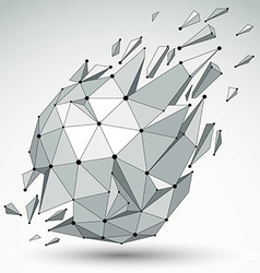 3d low poly spherical object with black connected vector