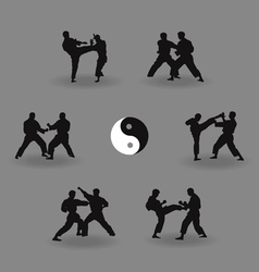 Group of men karate demonstrate vector
