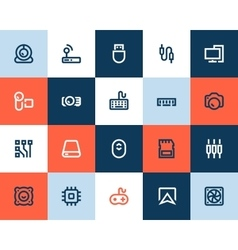 Computer components icons flat style vector