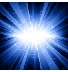 Blue light burst with stars vector