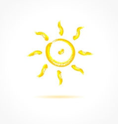 Ink sun on gray background creative concept vector