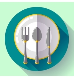 Dishes - plate knife and fork icon flat vector