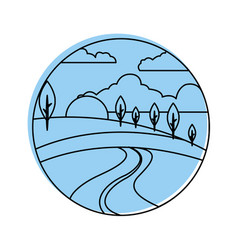 Beautiful forest landscape icon vector
