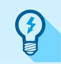 Blue electric bulb with lightning inside icon vector