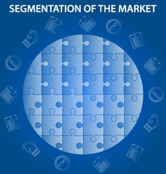 Blue segmentation puzzle infographic vector