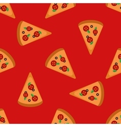 bright pizza slices seamless pattern vector image