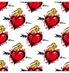 Burning fiery heart seamless pattern vector image vector image