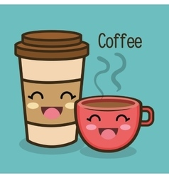 Cartoon cup coffee facial expression graphic vector