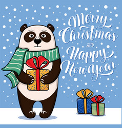 Christmas and new year card with standing panda vector