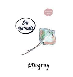 colorful stingray watercolor vector image