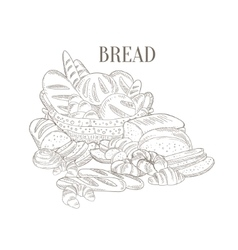 Different bread still life hand drawn realistic vector