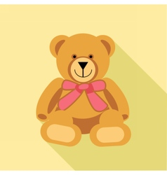 Digital bear toy with pink ribbon vector image vector image