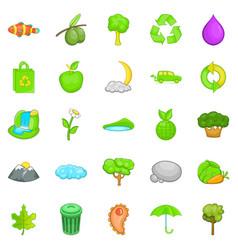 Environmental pollution icons set cartoon style vector