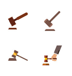 Flat icon court set of tribunal justice court vector