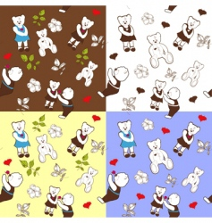 four seamless patterns with bears vector image vector image