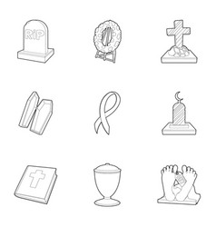 funeral icons set outline style vector image