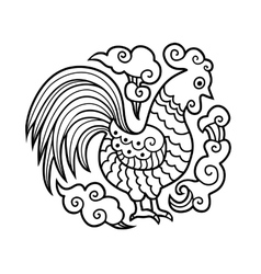 Graphic image of cock or rooster in round vector