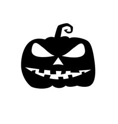 Halloween evil pumpkin black silhouette vector image