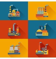 Industrial factory buildings in flat design style vector image