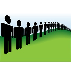 Long line of people lined up on the earth vector image vector image