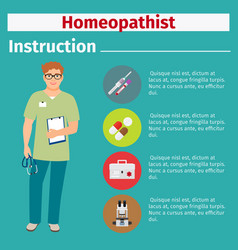Medical equipment instruction for homeopathist vector