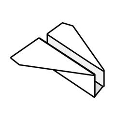 Paper plane origami fly outline vector