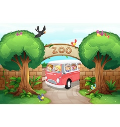 People riding van to the zoo vector image