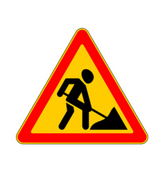 Road sign warning road work on white background vector