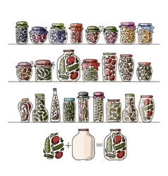 Set of pickle jars with fruits and vegetables vector image