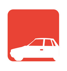 Square red button with silhouette car vector