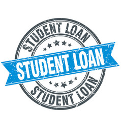 Student loan blue round grunge vintage ribbon vector