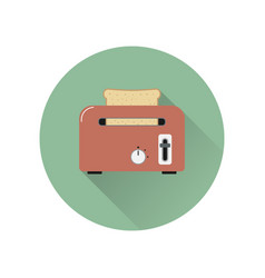 toaster with bread icon vector image vector image