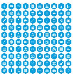 100 case icons set blue vector