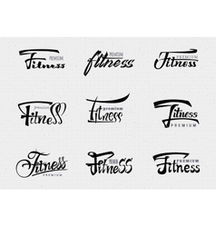 Fitness premium - badges lettering calligraphy vector