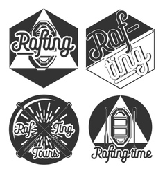Vintage rafting emblems vector