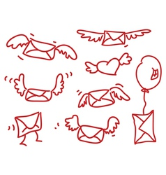 Hand drawing flying messages vector
