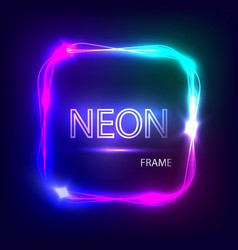 Neon square glowing frame light banner vector