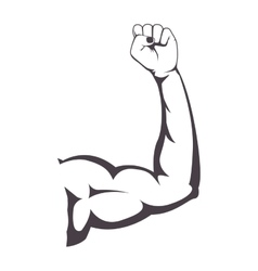 Silhouette of muscular arm right vector
