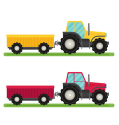 Tractor with trailer flat design industrial vector