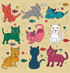 Doodle set cats cute poses vector