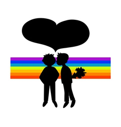 Two black silhouettes of boys in rainbow vector
