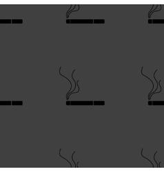 Smoking sign cigarette flat design Seamless gray vector image