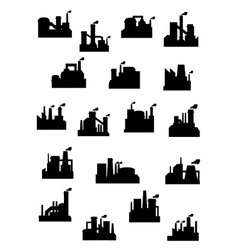 Industrial factories and refineries icon set vector