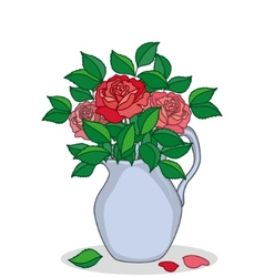 Jug with roses vector
