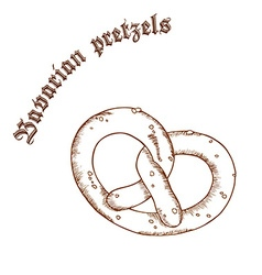 Pencil hand drawn of pretzel with salt with label vector