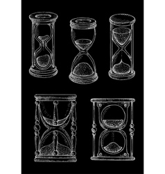 Vintage hourglasses chalk sketches set vector image