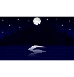 Night landscape mountain lake in the moonlight vector