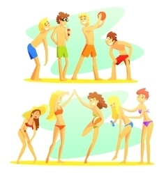 Friends on beach holiday colorful vector